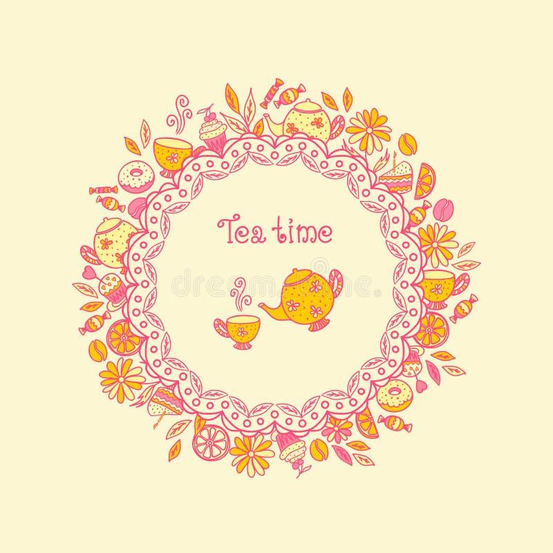 Herbaciany czas. Set cukierki, herbaciani naczynia, kawa royalty ilustracja