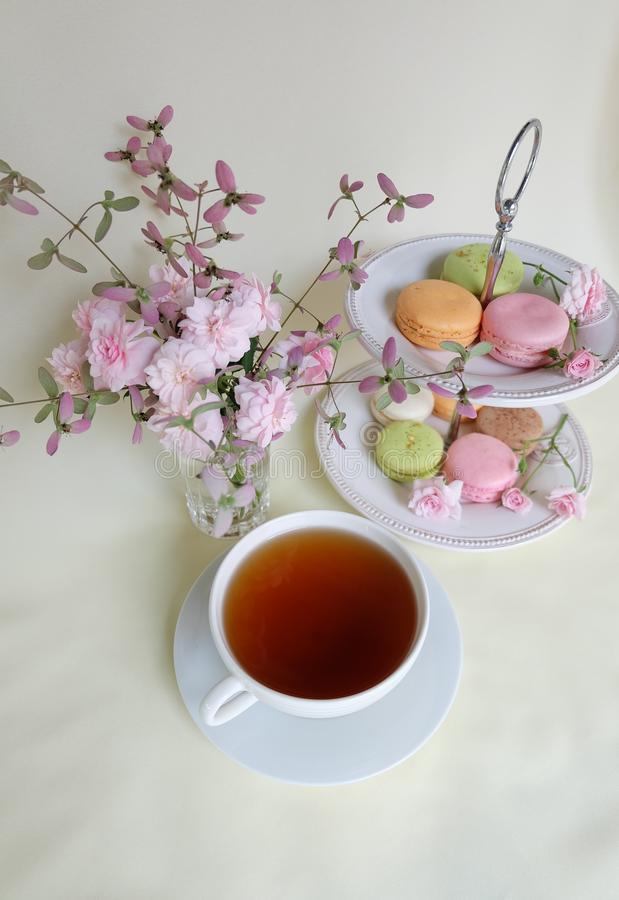 Herbaciany czas z macaron fotografia royalty free