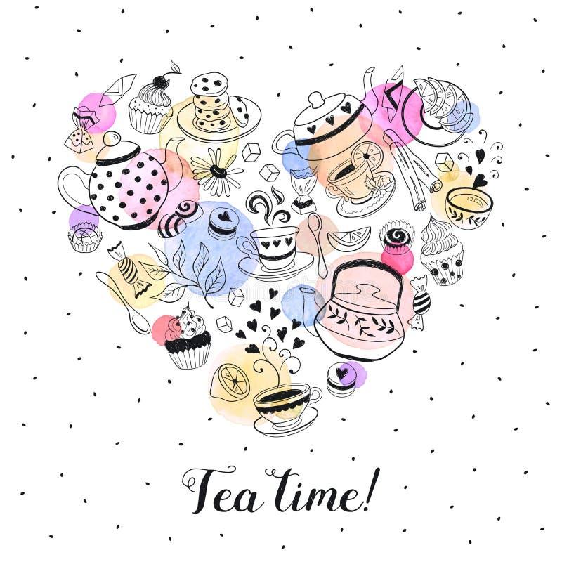 Herbaciany czasu plakat ilustracja wektor