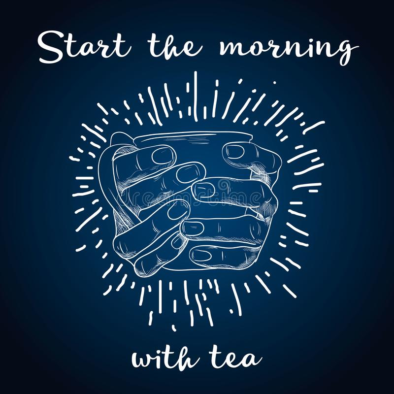 Herbaciany czasu plakata pojęcie Herbacianego przyjęcia kartka z pozdrowieniami projekt Wręcza patroszoną ilustrację trzyma herba ilustracji