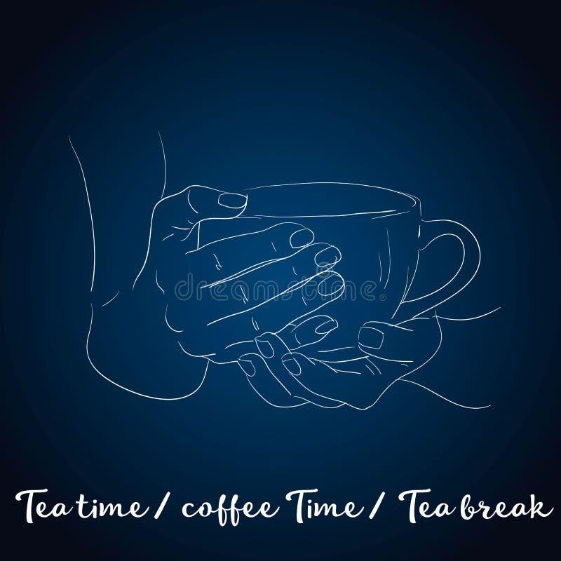 Herbaciany czasu plakata pojęcie Herbacianego przyjęcia kartka z pozdrowieniami projekt Wręcza patroszoną ilustrację trzyma herba royalty ilustracja