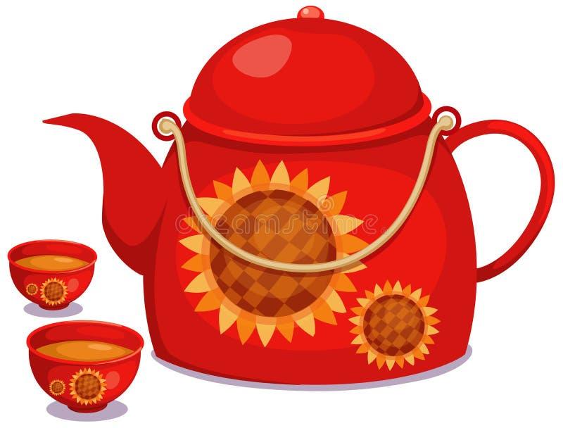 Herbaciany garnek z filiżanką herbata ilustracji