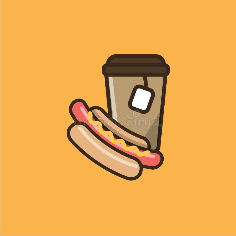 Herbaciany gorący napój i hot dog royalty ilustracja
