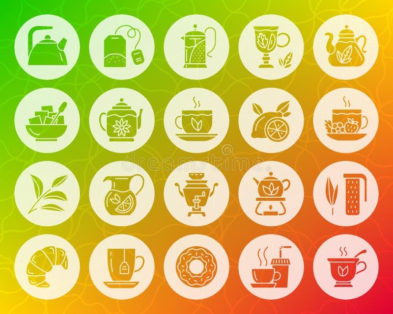 Herbaciany kształt rzeźbiący płaski ikona wektoru set royalty ilustracja