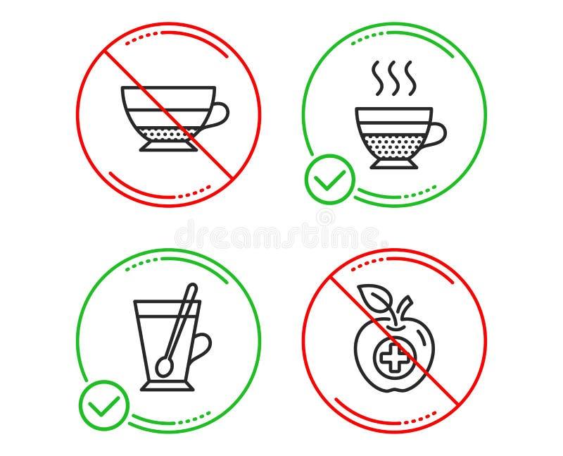 Herbaciany kubek, Americano i Cukierniane creme ikony ustawiający, Medyczny jedzenie znak Filiżanka z teaspoon, napój filiżanka,  ilustracja wektor