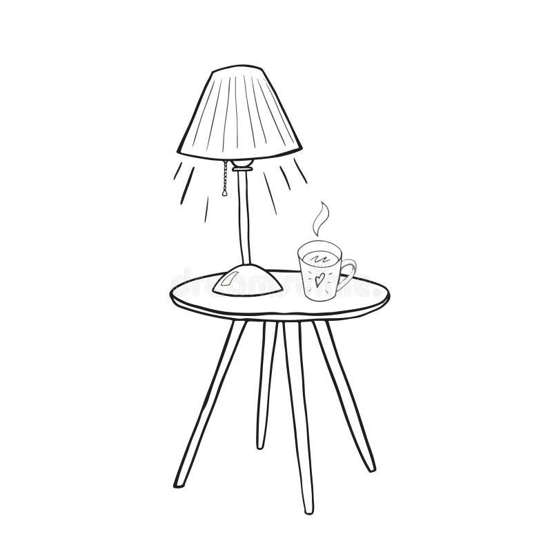 Herbaciany kubek na stole pod lamplight zarysowywał ręka rysującego wektor ilustracji