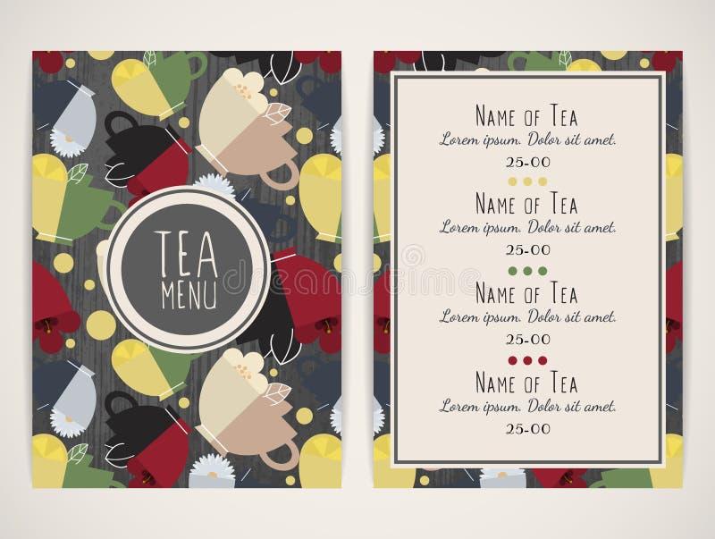 Herbaciany menu Wzór z filiżankami herbata royalty ilustracja