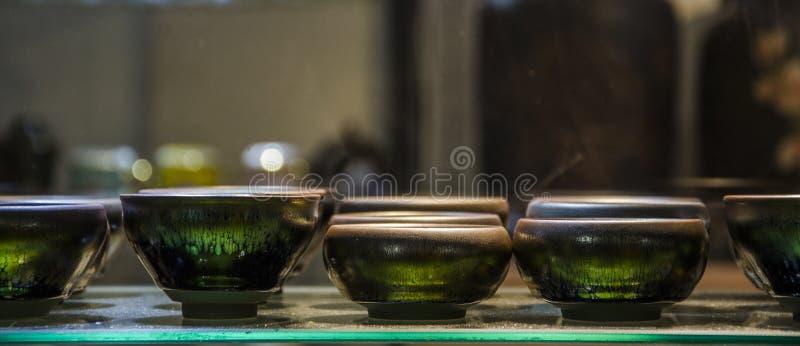 Herbaciany ustawiający w herbacianym domu obrazy stock