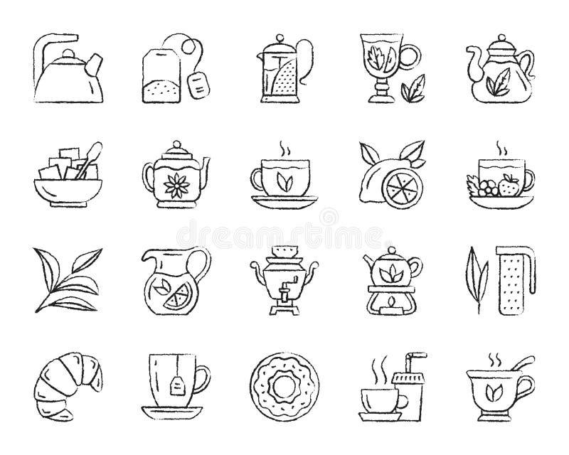 Herbaciany węgla drzewnego remisu linii ikon wektoru set ilustracji