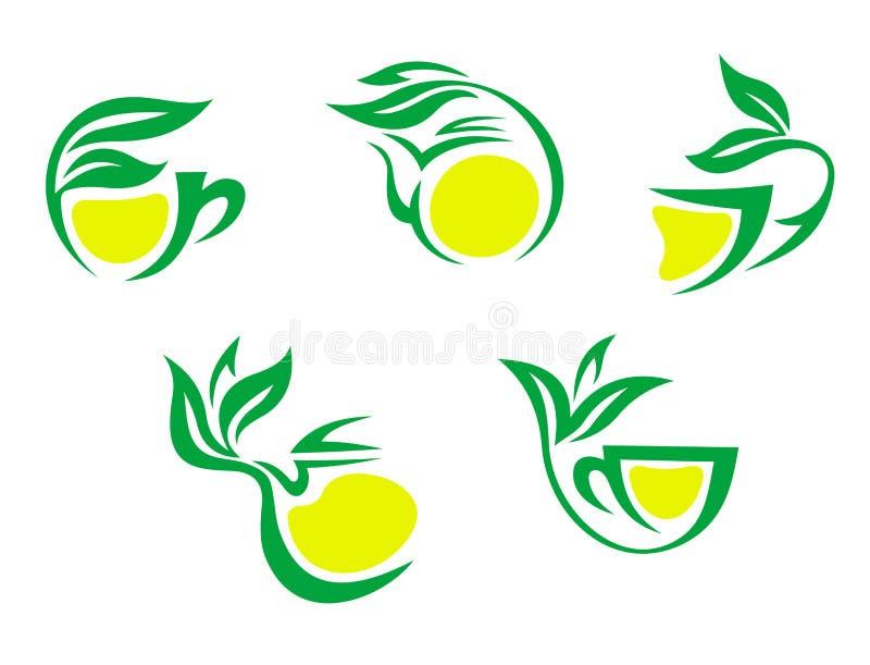 Herbacianych filiżanek symbole z cytryną royalty ilustracja