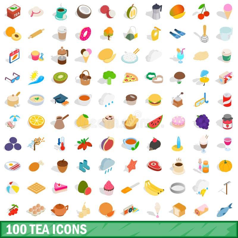 100 herbacianych ikon ustawiających, isometric 3d styl ilustracji
