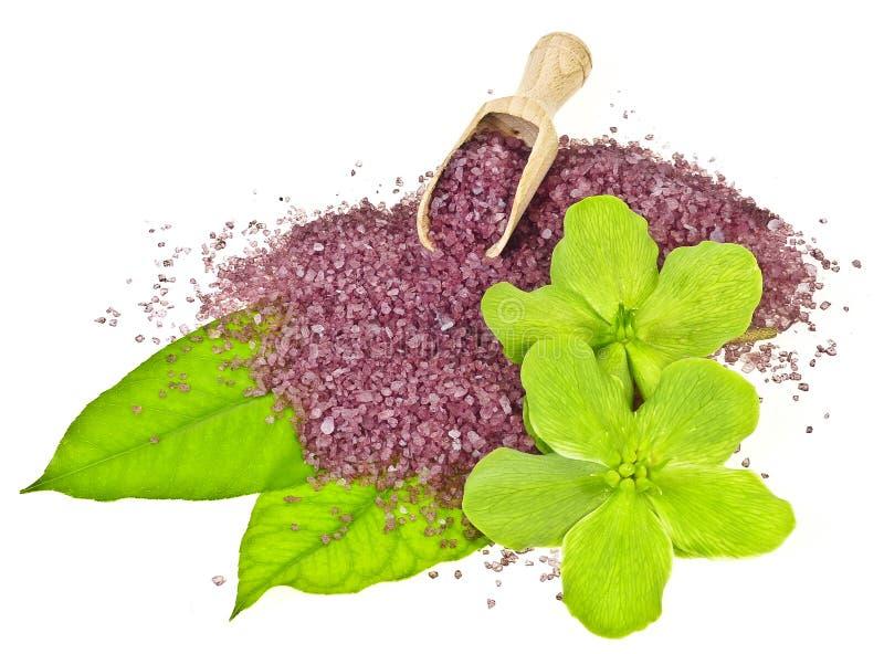 Herbal bath salt stock photography