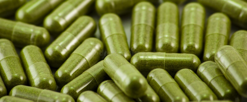 Herbal Capsules Wide royalty free stock image
