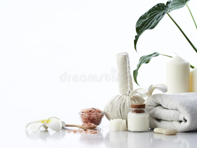 Herbal compress and spa massage stock photo