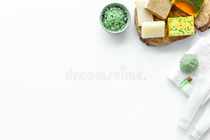 Herbal cosmetic set for spa with soap and bath salt on white background flatlay mock-up royalty free stock images