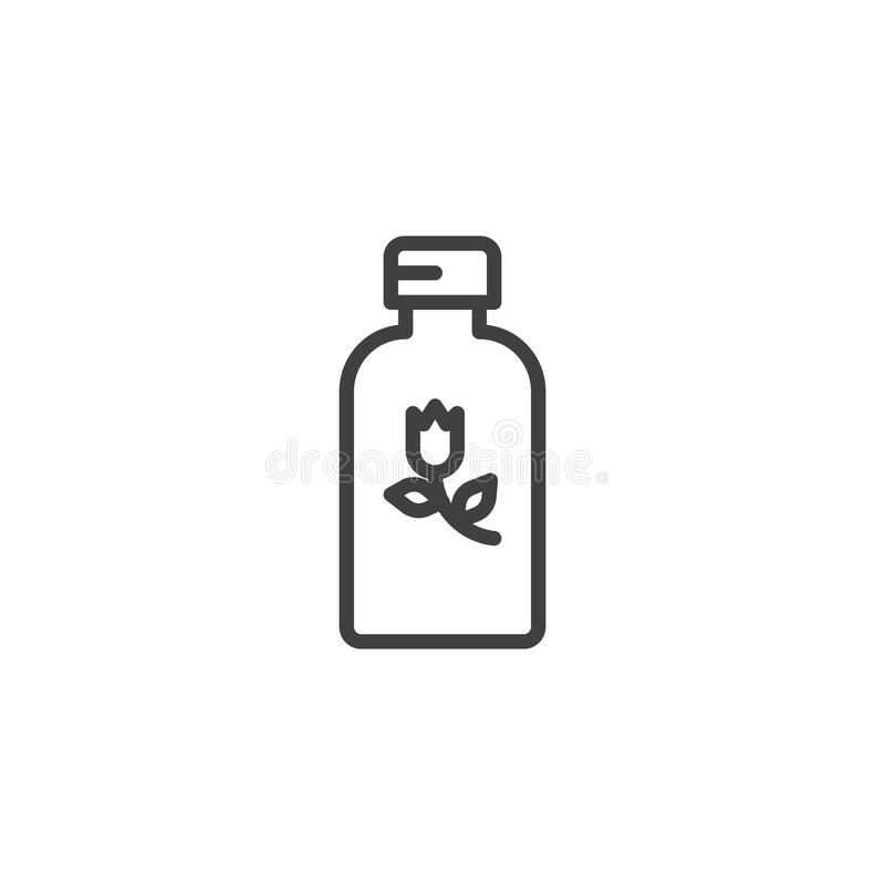 Herbal cosmetics bottle line icon vector illustration