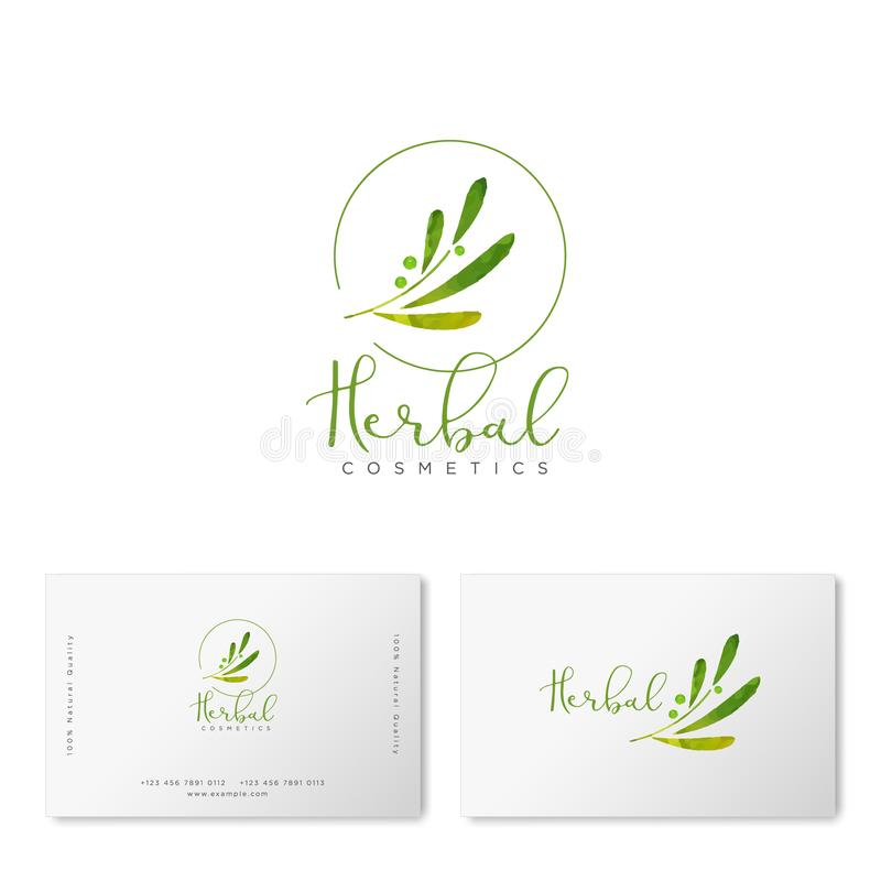 Herbal cosmetics logo. Green leaves and lettering. Identity. vector illustration