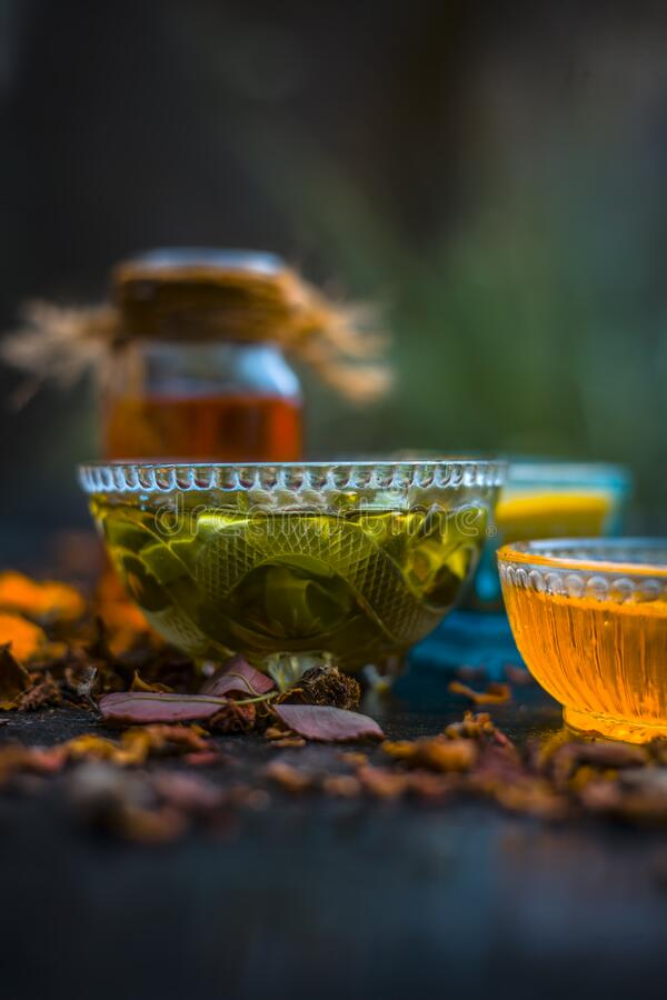 Herbal face pack of aloe vera ,turmeric,rose water, and honey for glowing and Radient skin and for all skin types all the ingredie. Nts on wooden surface,Close stock photos