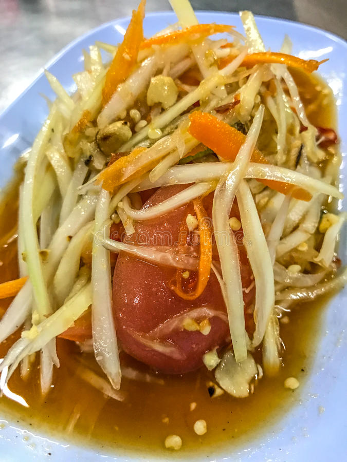Herbal Food: Thai green papaya salad, Som Tum, Bangkok, capital of street food, Thailand.  stock image