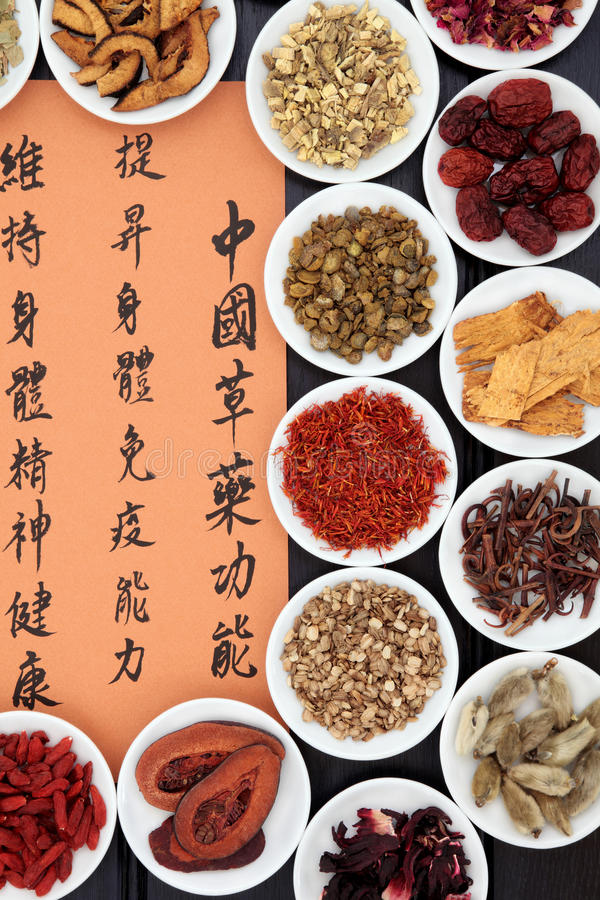 Herbal Health. Chinese herbal medicine selection with mandarin calligraphy script. Translation describes the functions to increase the bodys ability to maintain royalty free stock image