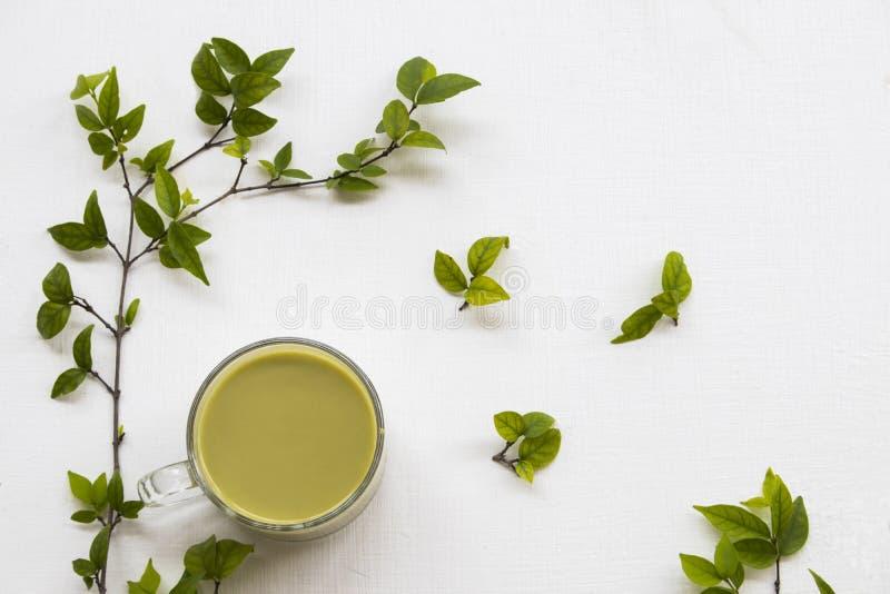 Herbal healthy drinks hot green tea ,milks royalty free stock image