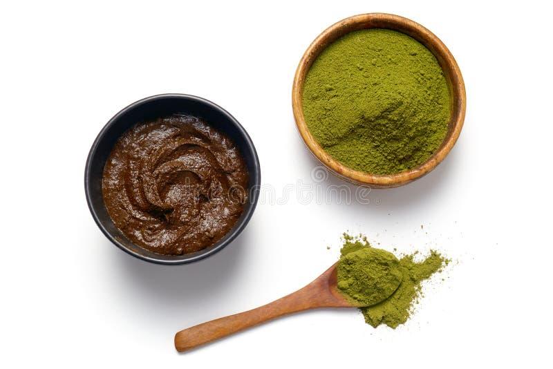 Henna powder and henna paste. Herbal Henna powder and henna paste on white background stock photography