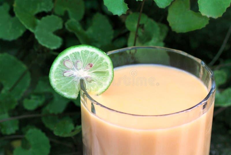 Herbal Mango juice with sliced lemon stock photo
