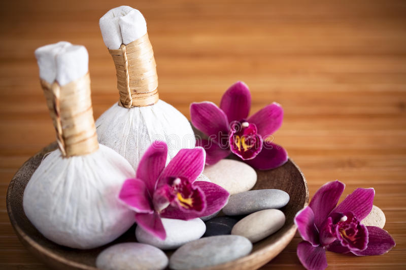 Herbal massage compresses royalty free stock photos