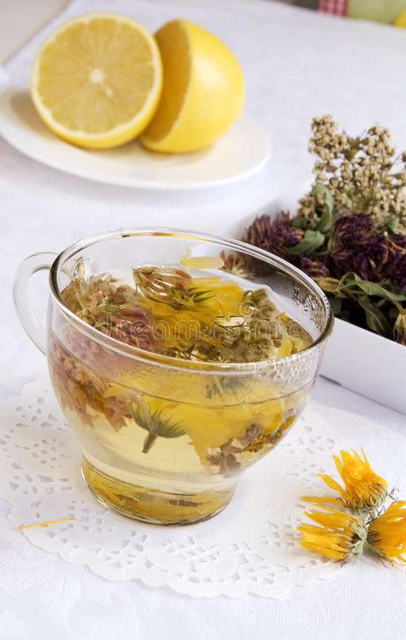 Herbal medical tea with lemon stock image