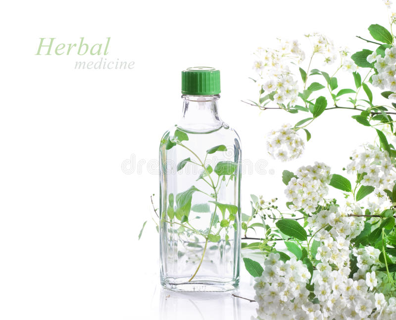 Herbal medicine. Bottle of herbal medicine and flowers stock images
