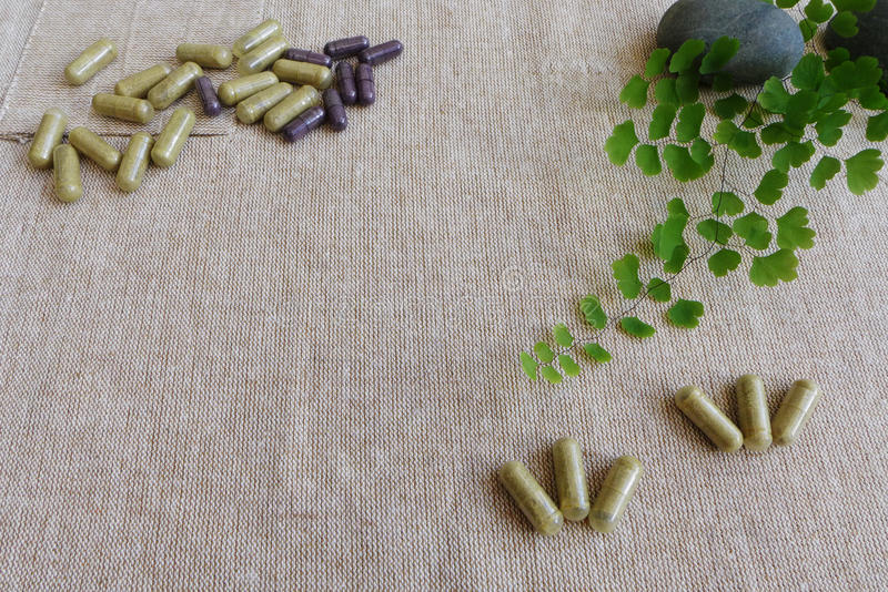 Herbal Medicine concept, Linen background stock photos