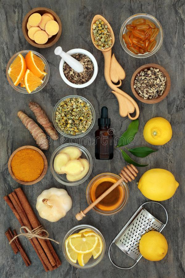 Herbal Medicine for Flu and Cold Remedy stock photos