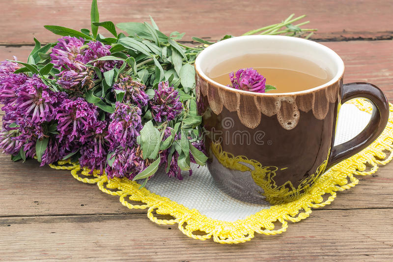 Herbal medicine: herbal tea with clover royalty free stock images