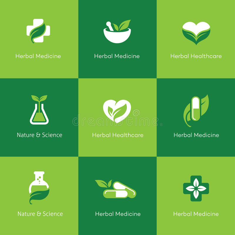 Herbal medicine icons on green background royalty free illustration