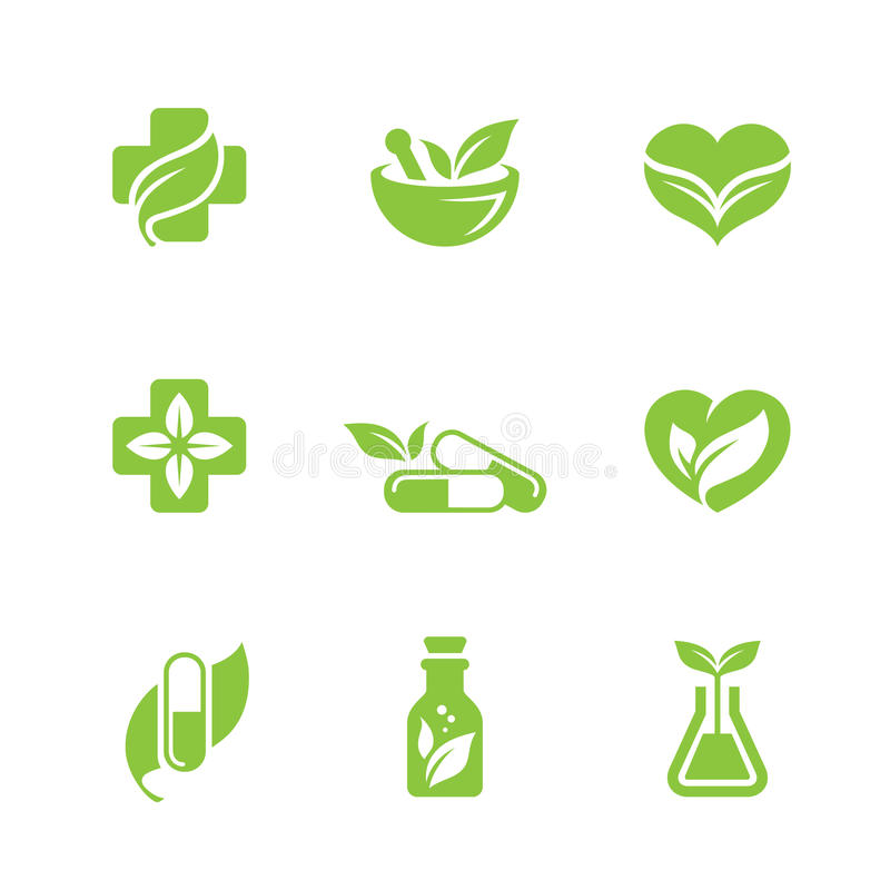 Herbal medicine icons set vector illustration