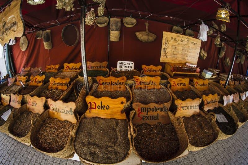 Herbal medicine, street vendor of medicinal herbs, wellness, spice royalty free stock images
