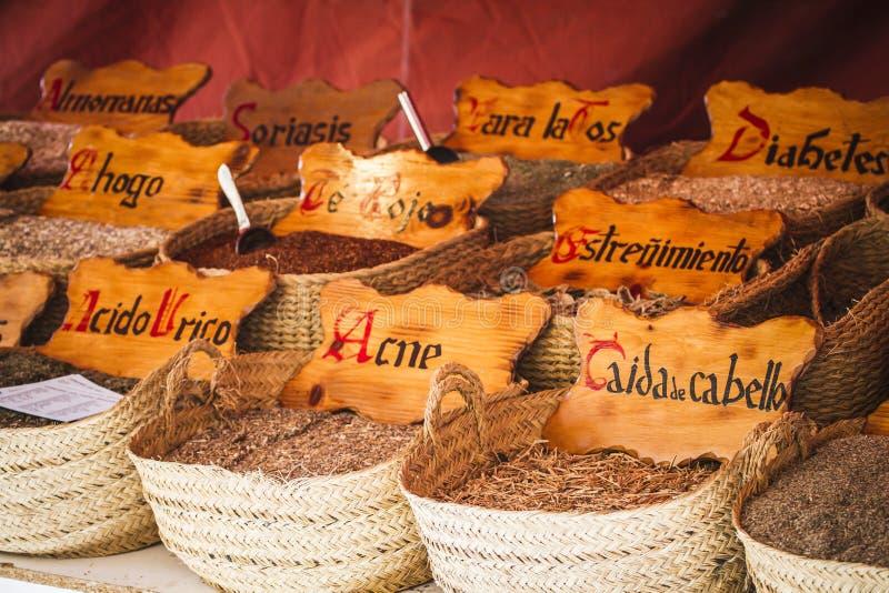 Herbal medicine, street vendor of medicinal herbs, wellness, spice stock image