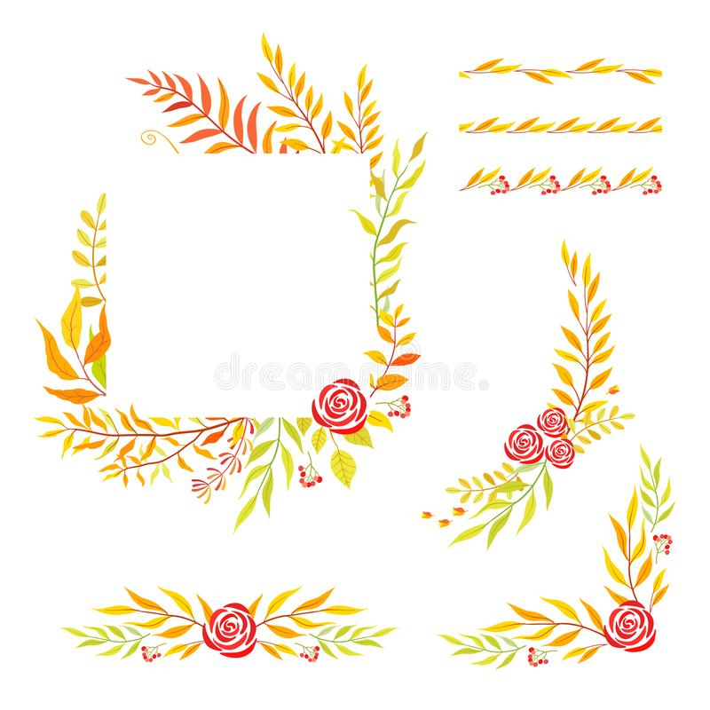Herbal mix vector frame. Hand painted plants, branches and leaves on white background. Natural fall card design. royalty free illustration