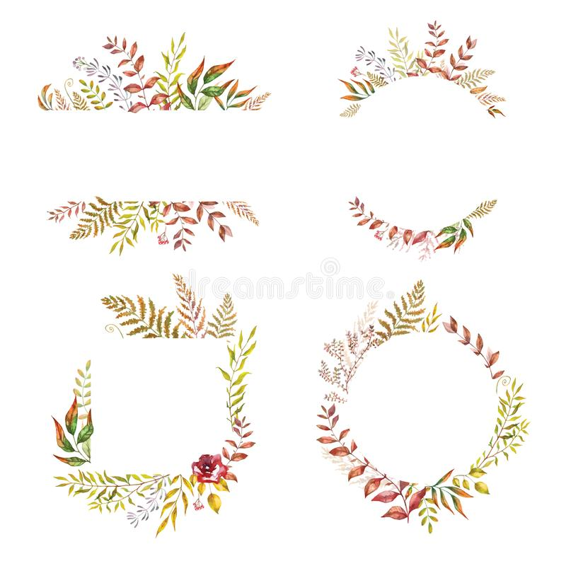 Herbal mix vector frame. Hand painted plants, branches and leaves on white background. Natural fall card design stock illustration