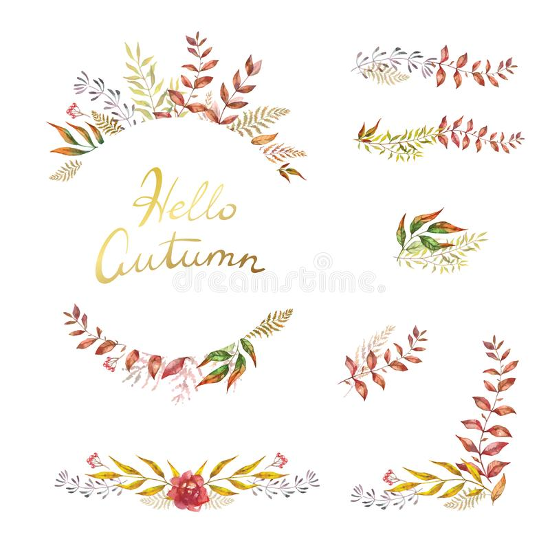 Herbal mix vector frame. Hand painted plants, branches and leaves on white background. Natural fall card design vector illustration