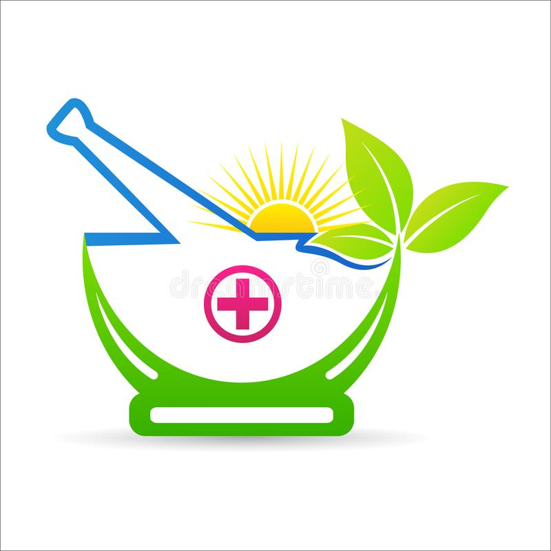 Herbal mortar and pestle ayurveda therapy care logo vector illustration