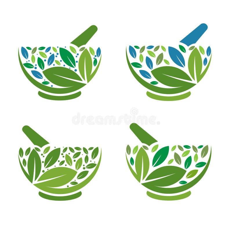 Herbal Mortar and pestle logo vector illustration