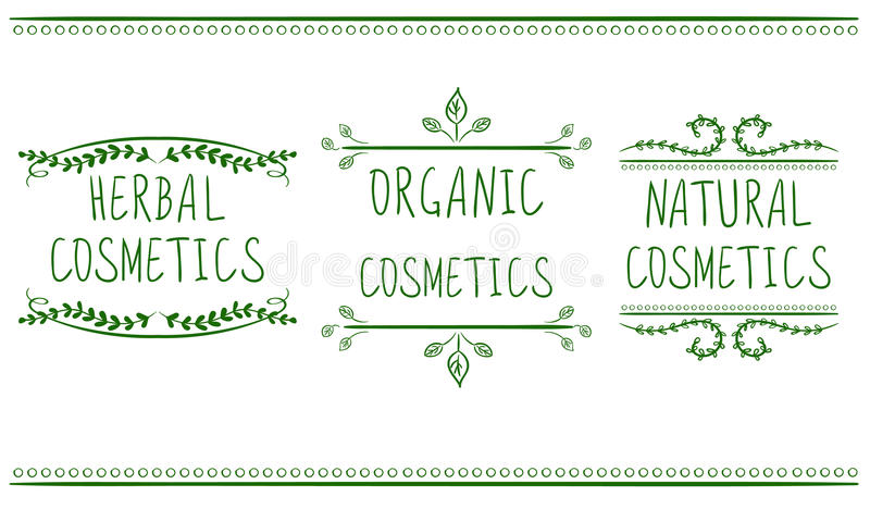 Herbal, organic, natural cosmetics. Hand drawn vignettes with handwritten text. Green lines. On white. VECTOR stock illustration