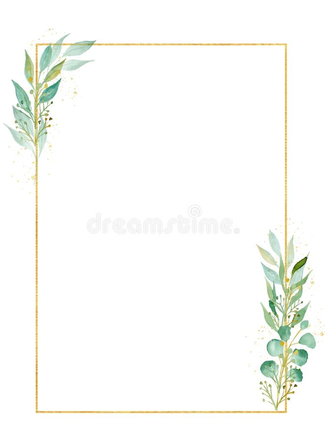 Herbal rectangular decorative frame watercolor raster illustration royalty free stock images