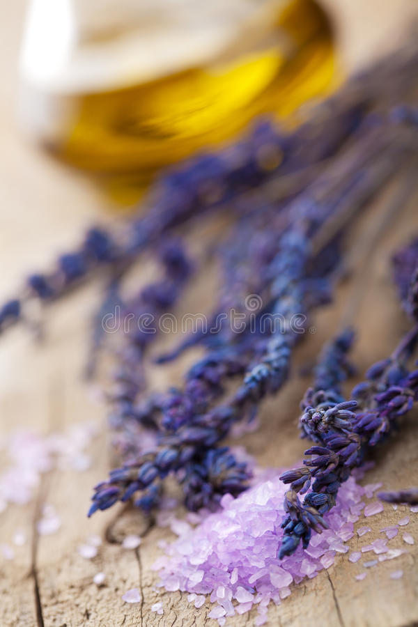 Download Herbal salt and lavender stock image. Image of luxury - 20270817