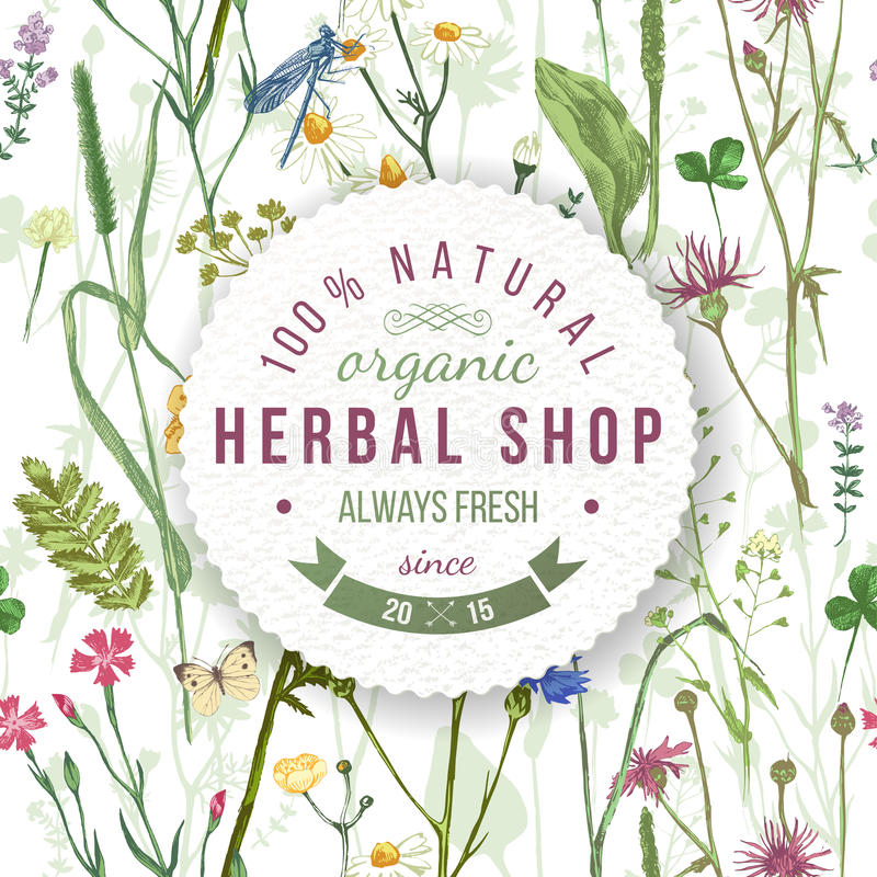 Herbal shop round emblem with herbs and flowers royalty free illustration