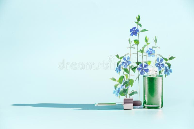 Herbal skin care cosmetics and beauty concept. Green Facial Serum or oil bottle with dropper or pipette. And medical flowers and herbs stand at blue background royalty free stock images