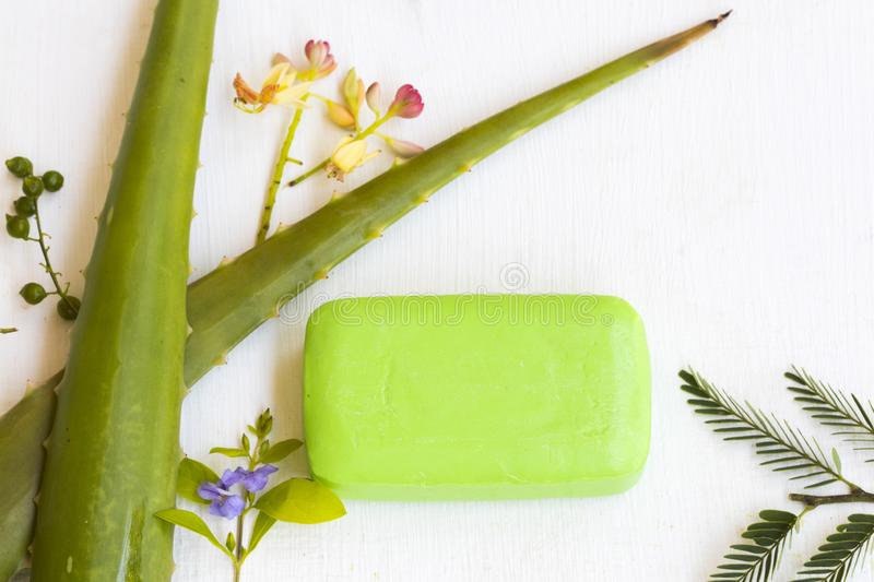 Herbal soap extract aloe vera health care for body skin of lifestyle clean a bath royalty free stock photo