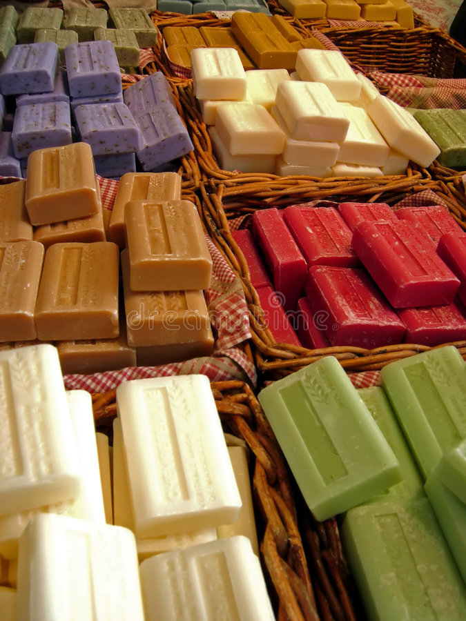 Herbal soaps. Shop with different herbal soaps royalty free stock photo