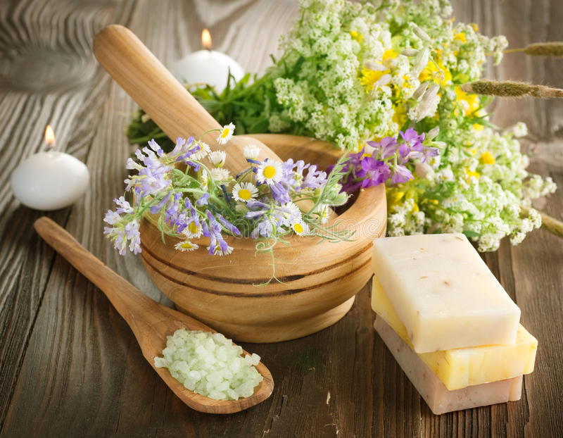 Herbal Spa Producten stock foto